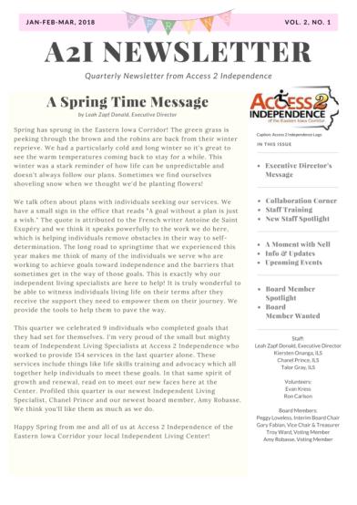 newsletter vol.2 no.1